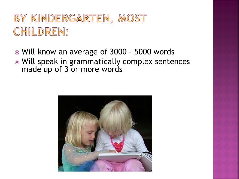 Will know an average of 3000 – 5000 words Will speak in grammatically complex sentences made up of 3 or more words