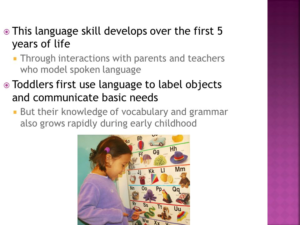 This language skill develops over the first 5 years of life Through interactions with parents and teachers who model spoken language Toddlers first us