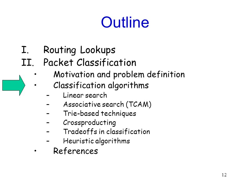 12 Outline I.Routing Lookups II.Packet Classification Motivation and problem definition Classification algorithms –Linear search –Associative search (