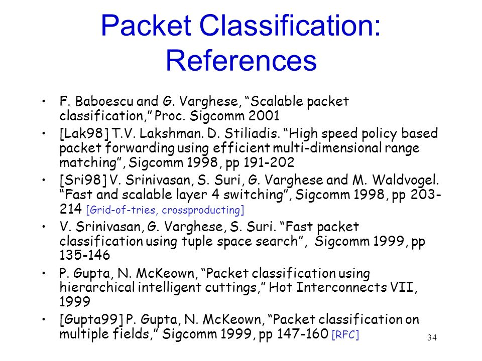 34 Packet Classification: References F. Baboescu and G. Varghese, Scalable packet classification, Proc. Sigcomm 2001 [Lak98] T.V. Lakshman. D. Stiliad