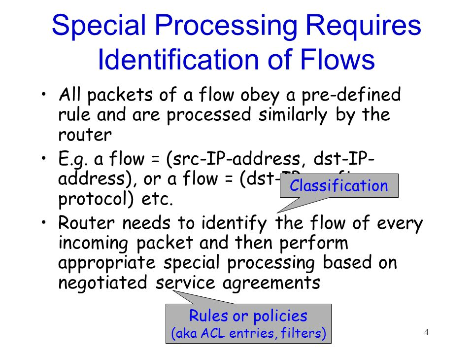 4 Special Processing Requires Identification of Flows All packets of a flow obey a pre-defined rule and are processed similarly by the router E.g. a f