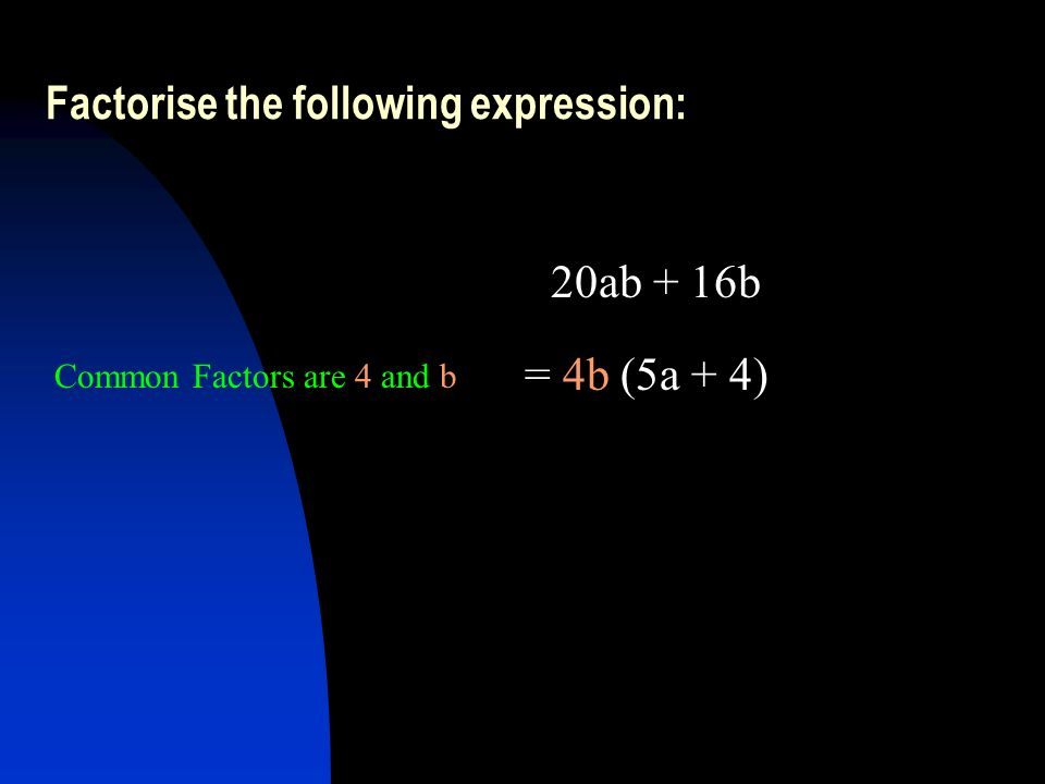 Factorise the following expression: 20ab + 16b = 4b (5a + 4) Common Factors are 4 and b