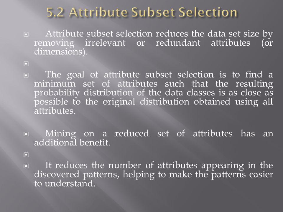 Attribute subset selection reduces the data set size by removing irrelevant or redundant attributes (or dimensions). The goal of attribute subset sele