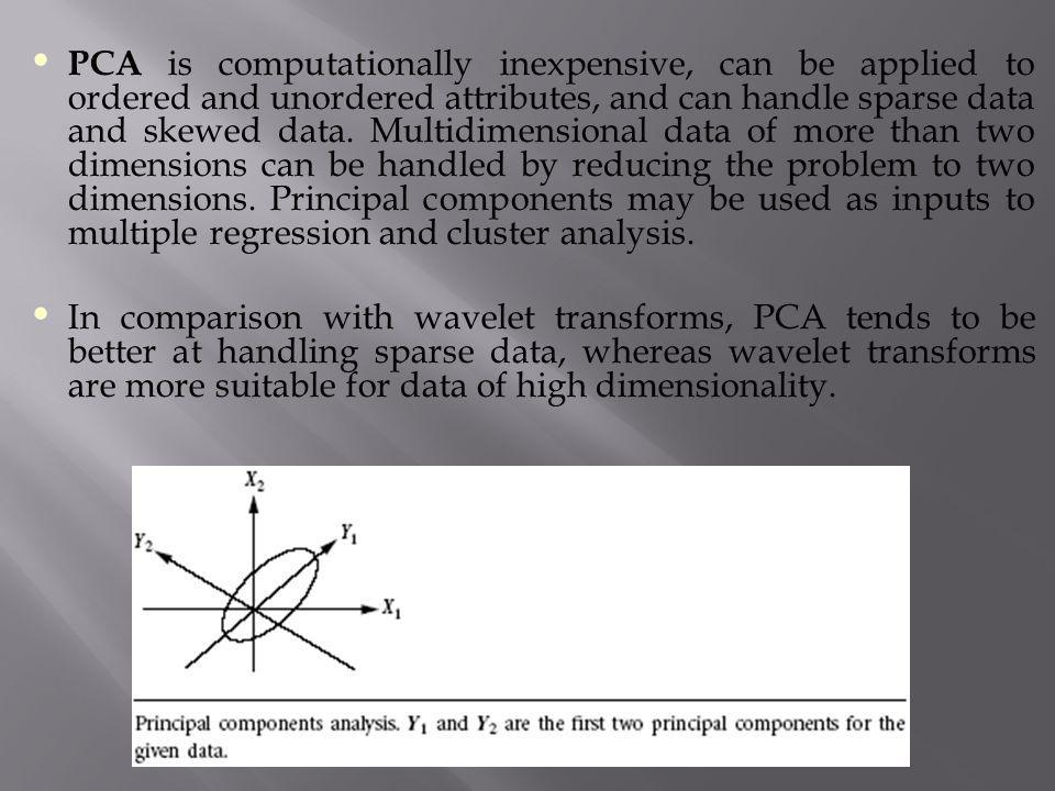 PCA is computationally inexpensive, can be applied to ordered and unordered attributes, and can handle sparse data and skewed data. Multidimensional d