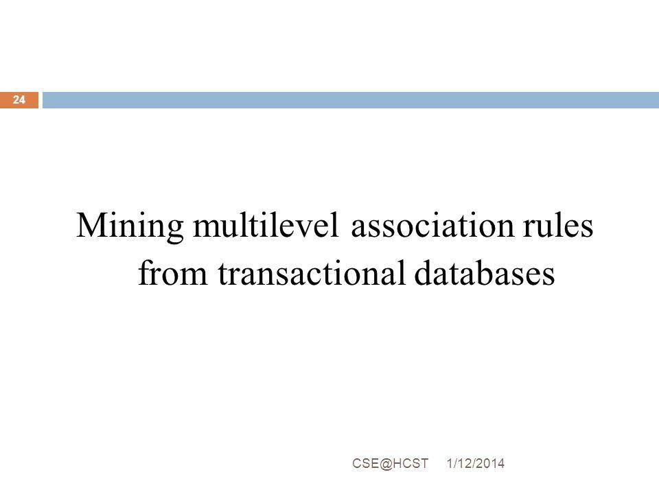 Mining multilevel association rules from transactional databases 1/12/2014CSE@HCST 24