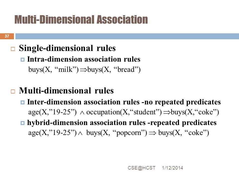Multi-Dimensional Association Single-dimensional rules Intra-dimension association rules buys(X, milk) buys(X, bread) Multi-dimensional rules Inter-di