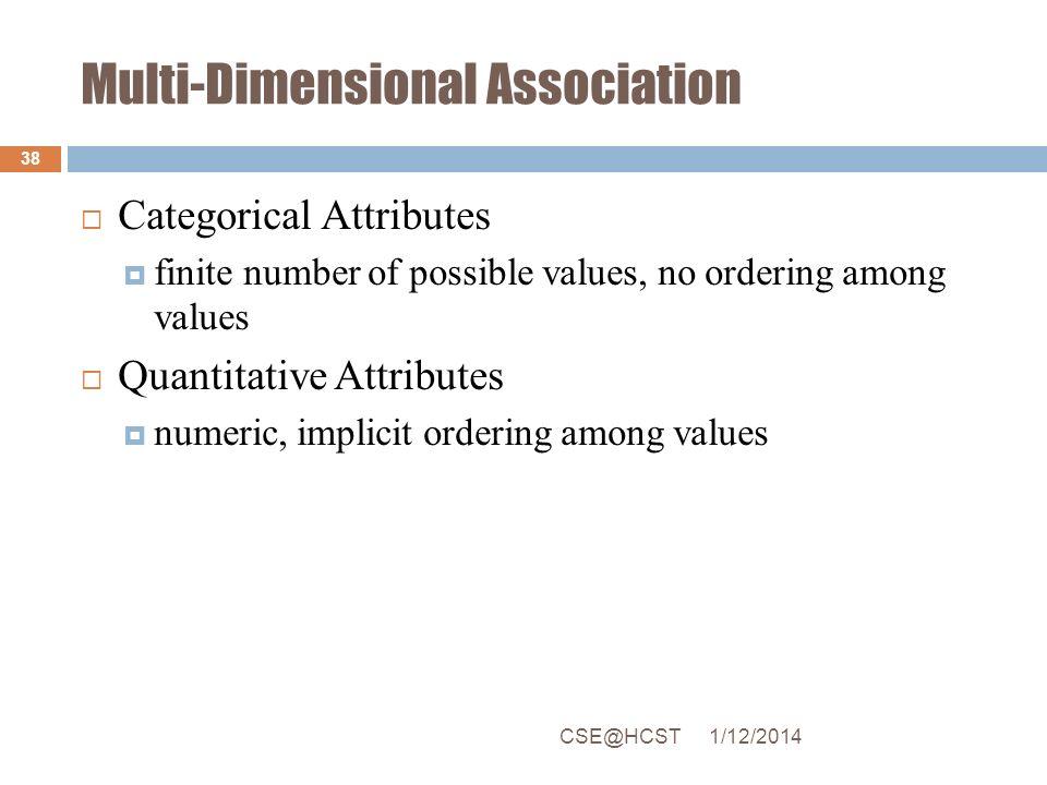 Multi-Dimensional Association Categorical Attributes finite number of possible values, no ordering among values Quantitative Attributes numeric, impli