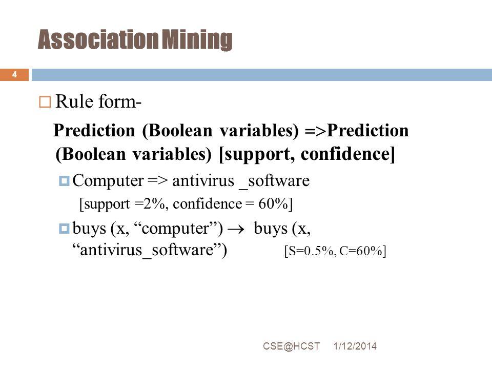 Association Mining Rule form- Prediction (Boolean variables) Prediction (Boolean variables) [support, confidence] Computer => antivirus _software [sup