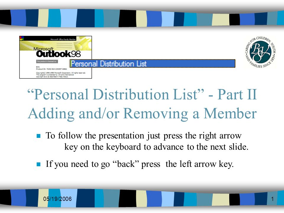 05/19/20061 Personal Distribution List - Part II Adding and/or Removing a Member n To follow the presentation just press the right arrow key on the keyboard to advance to the next slide.