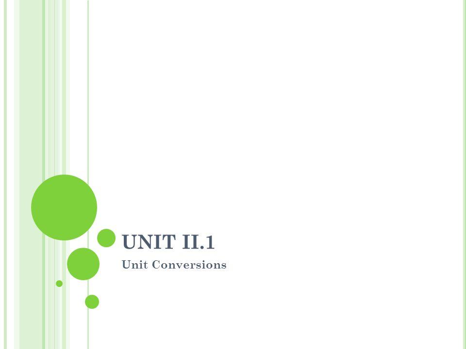 UNIT II.1 Unit Conversions
