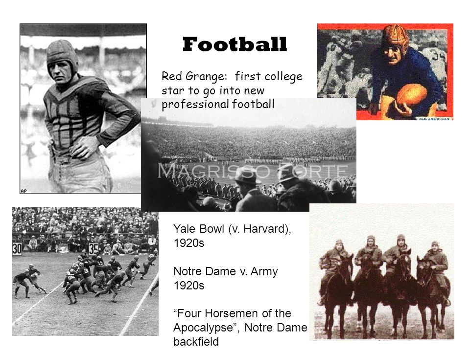 Football Red Grange: first college star to go into new professional football Yale Bowl (v.