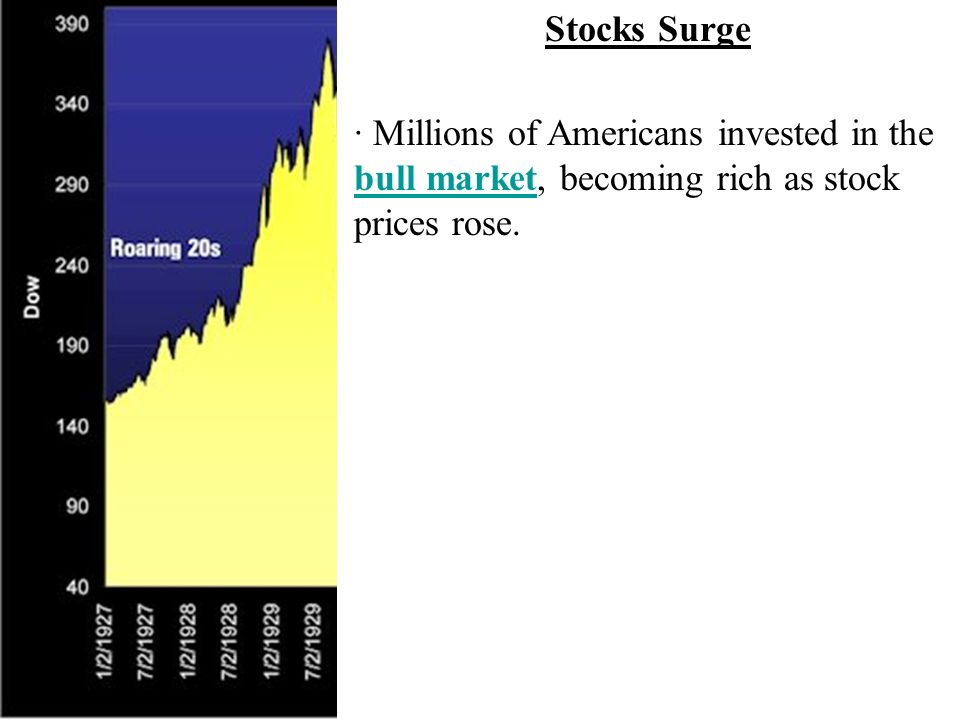 · Millions of Americans invested in the bull market, becoming rich as stock prices rose.
