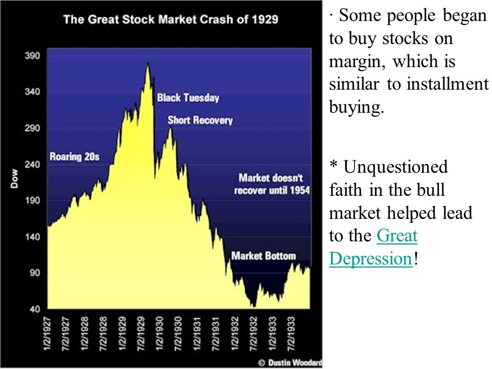* Unquestioned faith in the bull market helped lead to the Great Depression!Great Depression · Some people began to buy stocks on margin, which is similar to installment buying.