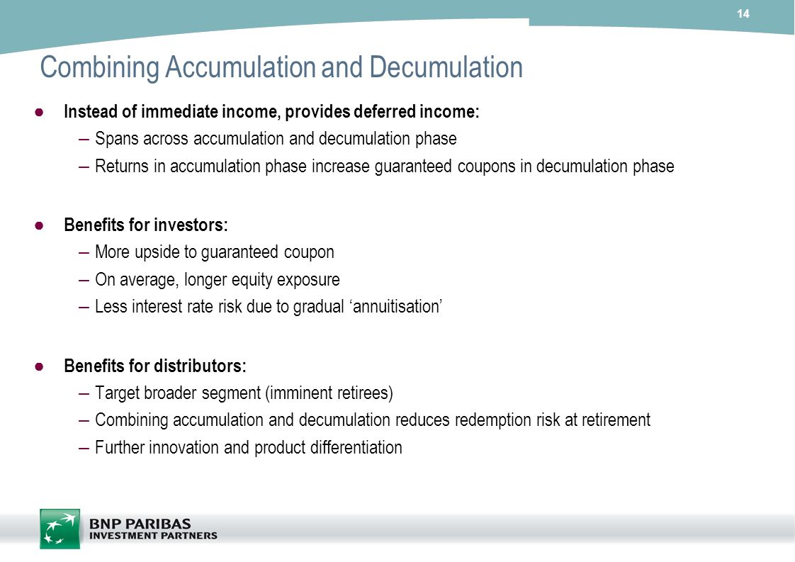 14 Combining Accumulation and Decumulation Instead of immediate income, provides deferred income: – Spans across accumulation and decumulation phase –