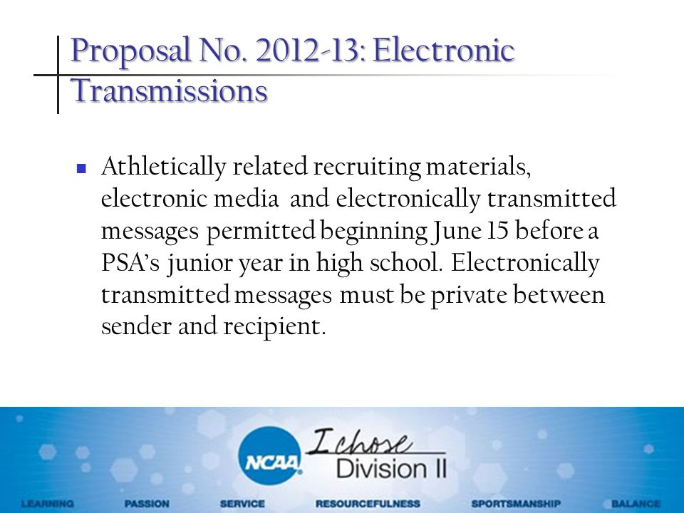Proposal No. 2012-13: Electronic Transmissions Athletically related recruiting materials, electronic media and electronically transmitted messages per