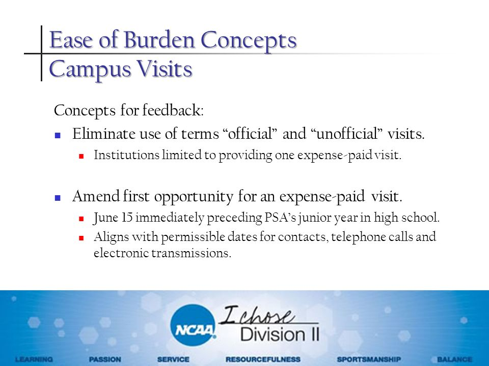 Concepts for feedback: Eliminate use of terms official and unofficial visits. Institutions limited to providing one expense-paid visit. Amend first op