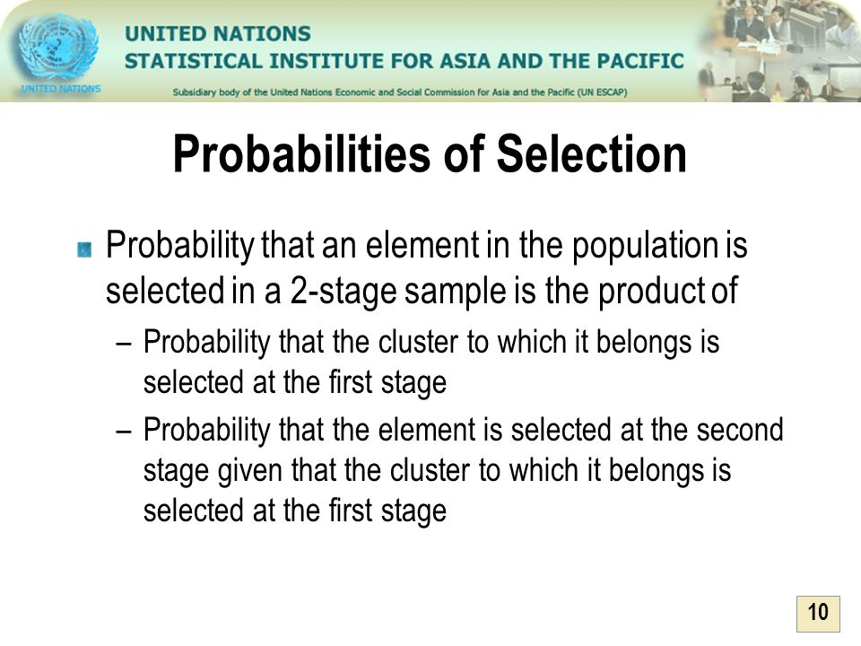 10 Probabilities of Selection Probability that an element in the population is selected in a 2-stage sample is the product of –Probability that the cl