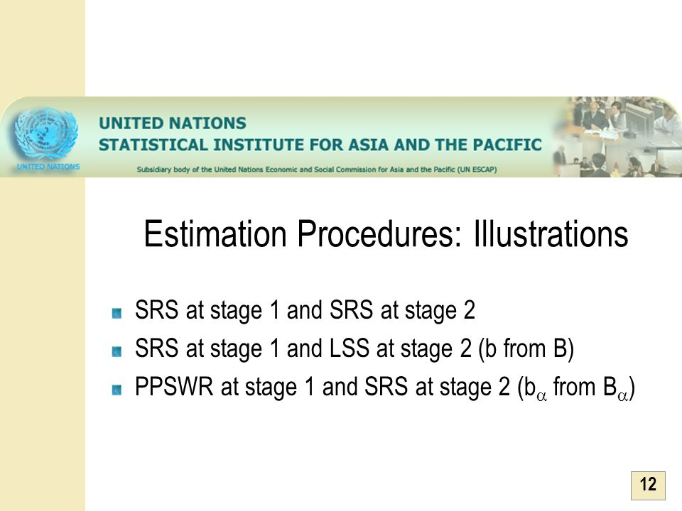 12 Estimation Procedures: Illustrations SRS at stage 1 and SRS at stage 2 SRS at stage 1 and LSS at stage 2 (b from B) PPSWR at stage 1 and SRS at sta