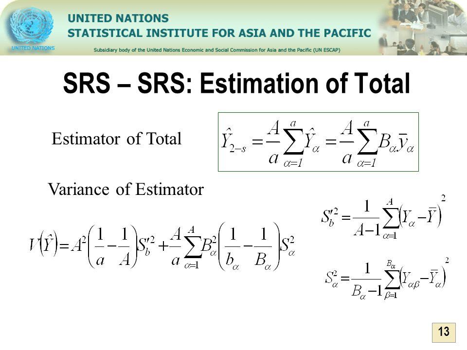 13 SRS – SRS: Estimation of Total Variance of Estimator Estimator of Total