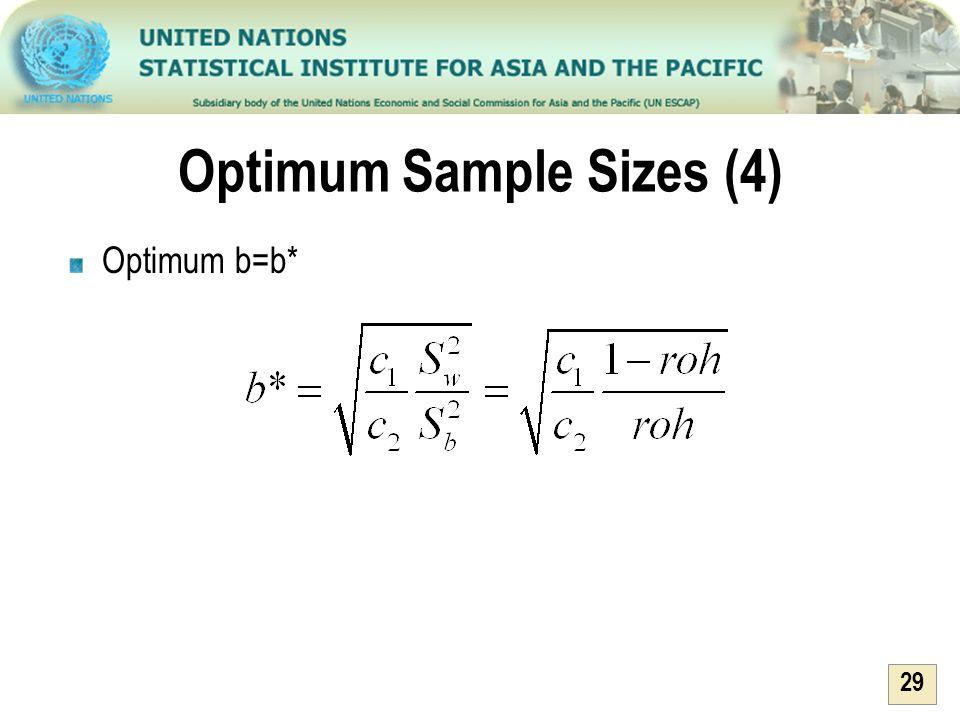 29 Optimum Sample Sizes (4) Optimum b=b*