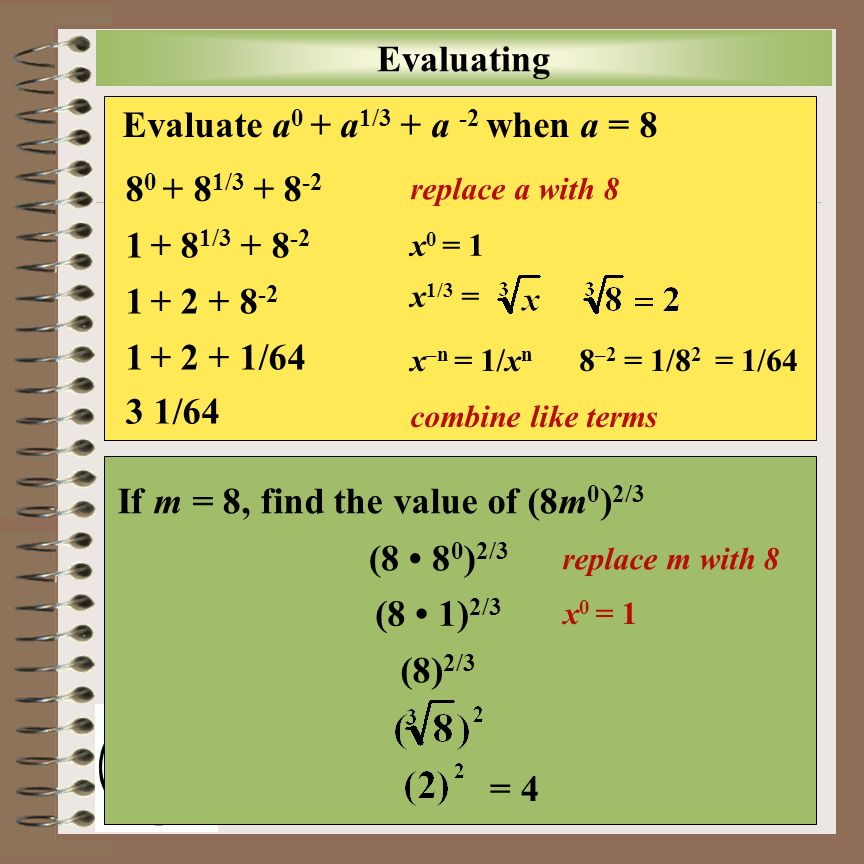 Aim: Completing the Square Course: Adv. Alg. & Trig Aim: How do we solve quadratic equations by completing the square? Evaluate a 0 + a 1/3 + a -2 whe