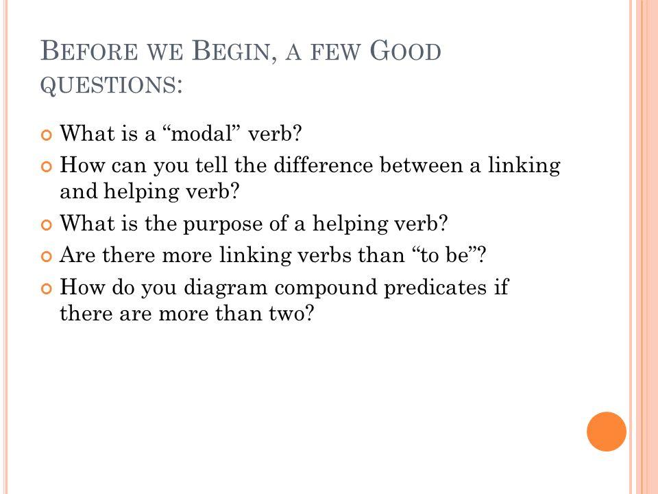B EFORE WE B EGIN, A FEW G OOD QUESTIONS : What is a modal verb.