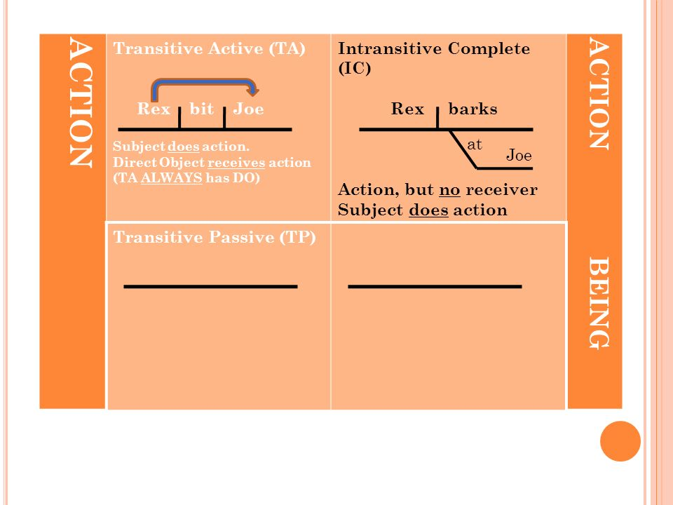 ACTION Transitive Active (TA) Rex bit Joe Subject does action. Direct Object receives action (TA ALWAYS has DO) Intransitive Complete (IC) Rex barks A