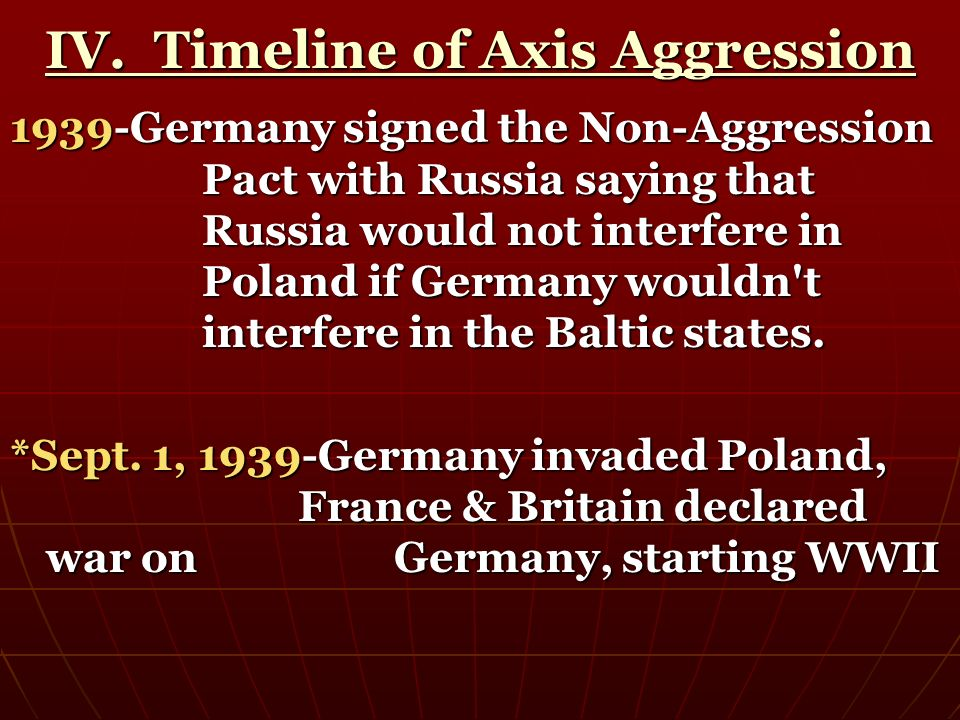 IV. Timeline of Axis Aggression 1939-Germany signed the Non-Aggression Pact with Russia saying that Russia would not interfere in Poland if Germany wo