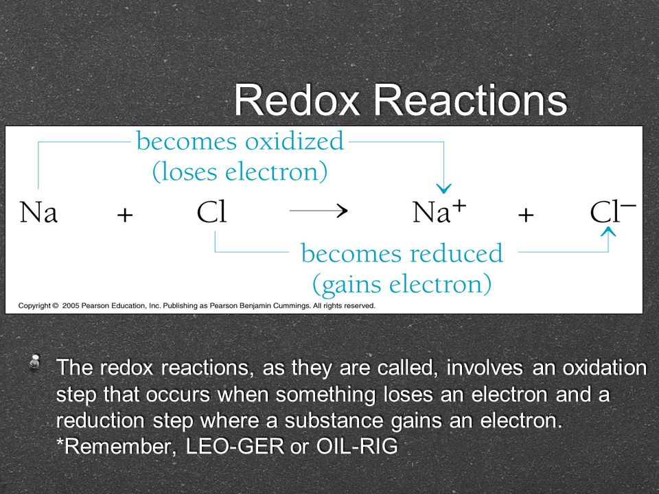 Redox Reactions The redox reactions, as they are called, involves an oxidation step that occurs when something loses an electron and a reduction step