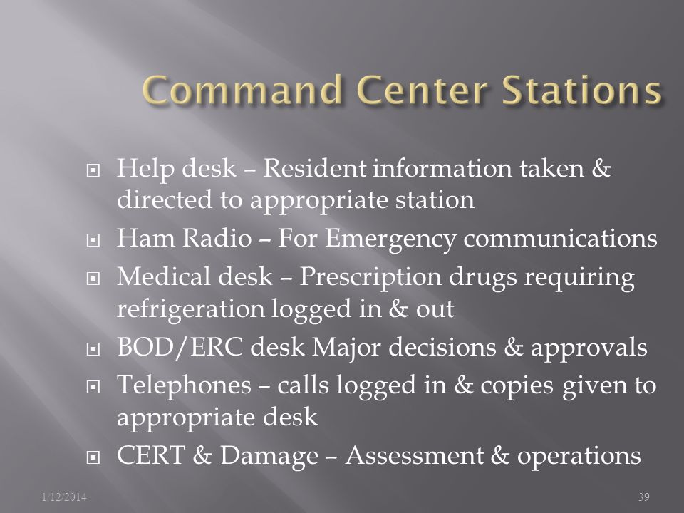 Help desk – Resident information taken & directed to appropriate station Ham Radio – For Emergency communications Medical desk – Prescription drugs requiring refrigeration logged in & out BOD/ERC desk Major decisions & approvals Telephones – calls logged in & copies given to appropriate desk CERT & Damage – Assessment & operations 1/12/201439