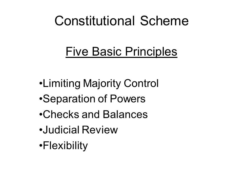 Constitutional Scheme Five Basic Principles Limiting Majority Control Separation of Powers Checks and Balances Judicial Review Flexibility