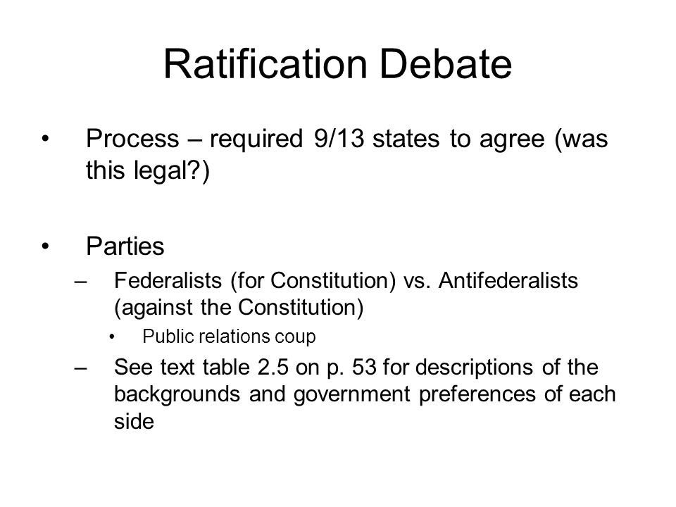 Ratification Debate Process – required 9/13 states to agree (was this legal?) Parties –Federalists (for Constitution) vs. Antifederalists (against the