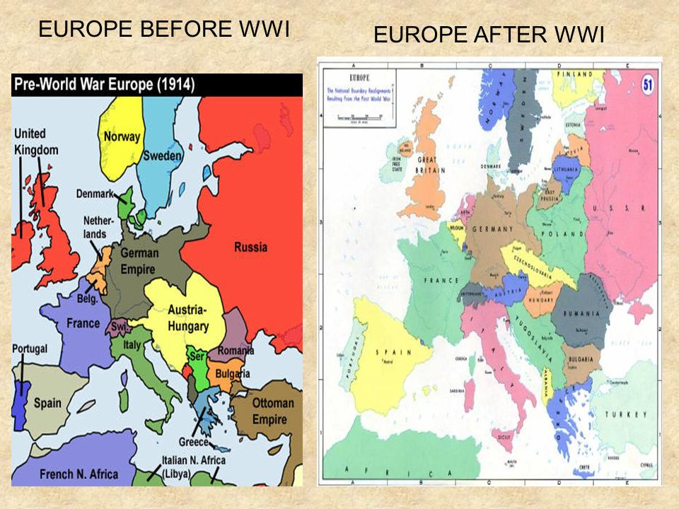 EUROPE BEFORE WWI EUROPE AFTER WWI