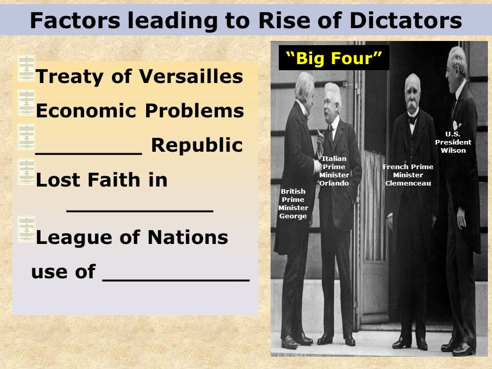 RISE OF FASCISM IN ITALY __________________ is a Totalitarian government which: Glorifies the state ___ leader and one party Society controlled by the government No opposition/protests are tolerated ________________ and _______________ widely practiced Anti-Democratic Benito Mussolini - 1922 Est.