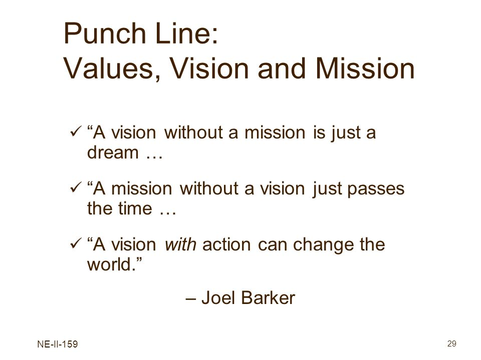 NE-II-159 29 Punch Line: Values, Vision and Mission A vision without a mission is just a dream … A mission without a vision just passes the time … A v