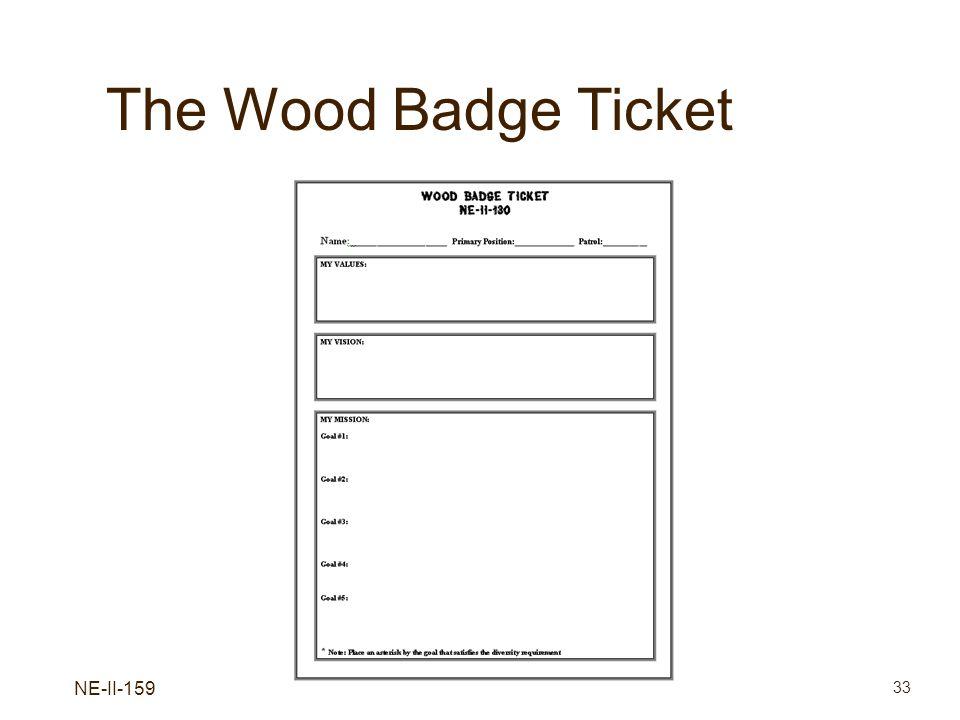 NE-II-159 33 The Wood Badge Ticket