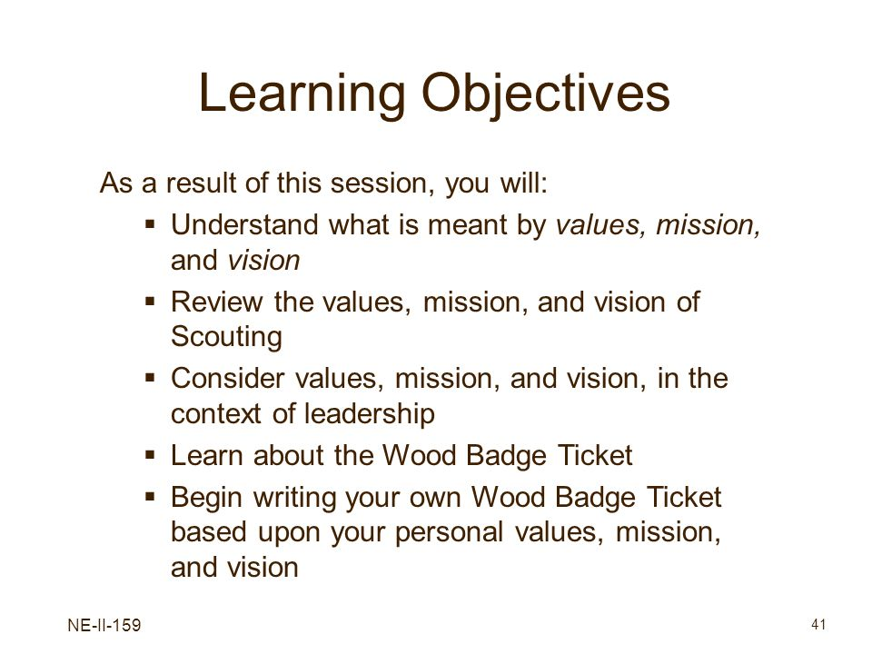 NE-II-159 41 Learning Objectives As a result of this session, you will: Understand what is meant by values, mission, and vision Review the values, mis