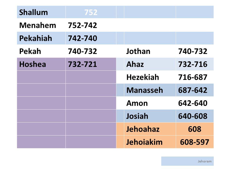 Jehoram Shallum752 Menahem752-742 Pekahiah742-740 Pekah740-732Jothan740-732 Hoshea732-721Ahaz732-716 Hezekiah716-687 Manasseh687-642 Amon642-640 Josiah640-608 Jehoahaz608 Jehoiakim608-597