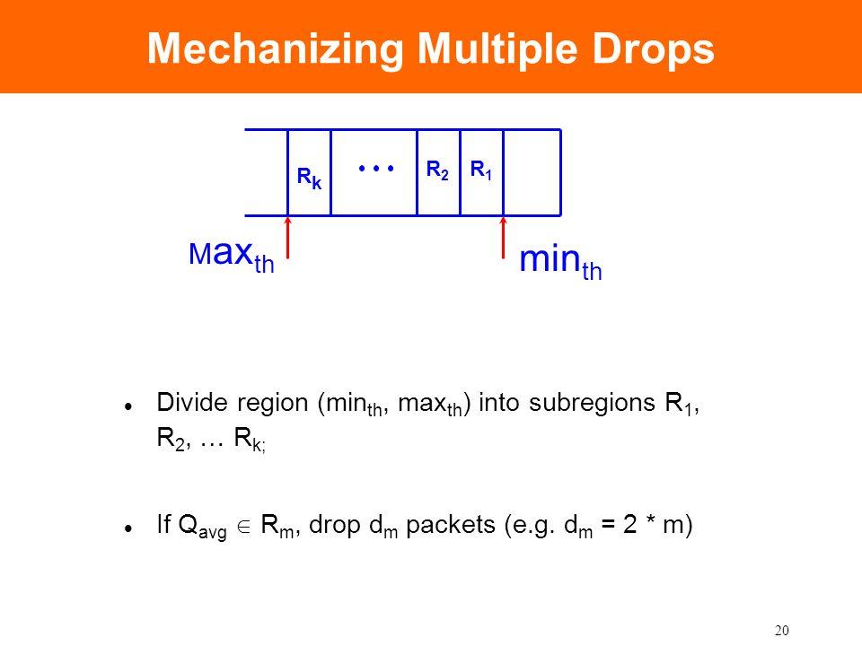 20 Mechanizing Multiple Drops Divide region (min th, max th ) into subregions R 1, R 2, … R k; If Q avg R m, drop d m packets (e.g. d m = 2 * m) min t
