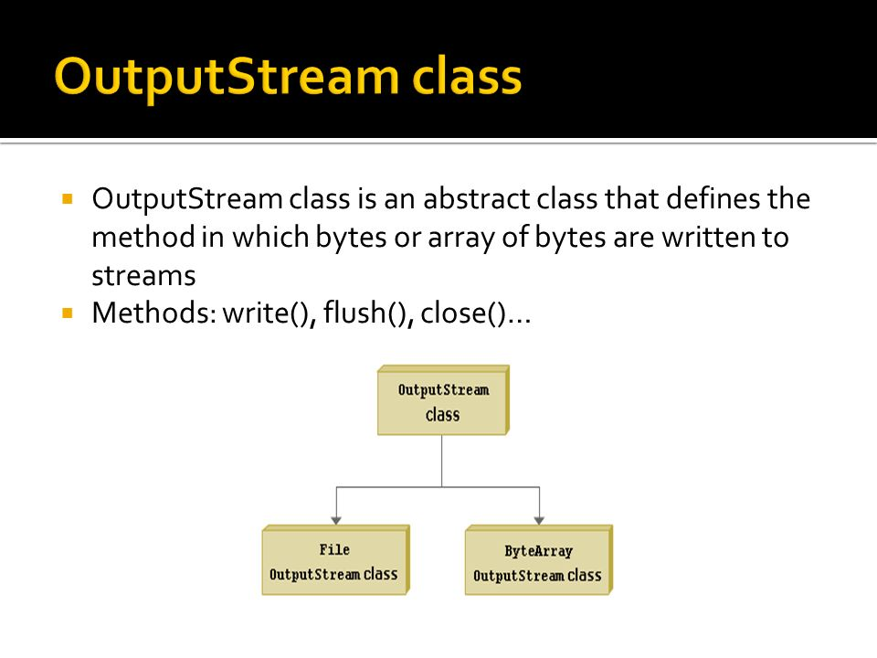 OutputStream class is an abstract class that defines the method in which bytes or array of bytes are written to streams Methods: write(), flush(), close()…