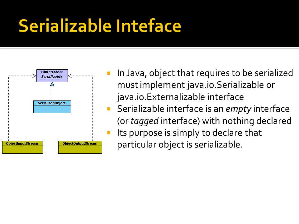 In Java, object that requires to be serialized must implement java.io.Serializable or java.io.Externalizable interface Serializable interface is an empty interface (or tagged interface) with nothing declared Its purpose is simply to declare that particular object is serializable.