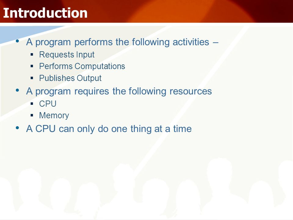 Introduction A program performs the following activities – Requests Input Performs Computations Publishes Output A program requires the following reso