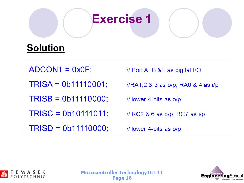 Microcontroller Technology Oct 11 Page 15 Exercise 1