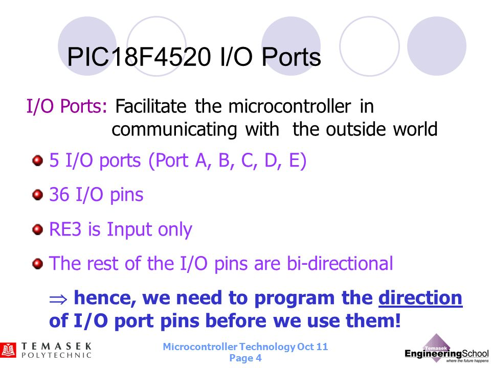 Microcontroller Technology Oct 11 Page 3 PIN Diagram of PIC18F4520