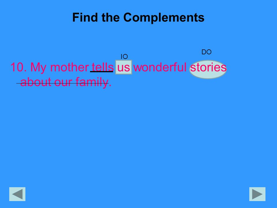 Find the Complements 10. My mother tells us wonderful stories about our family. DO IO