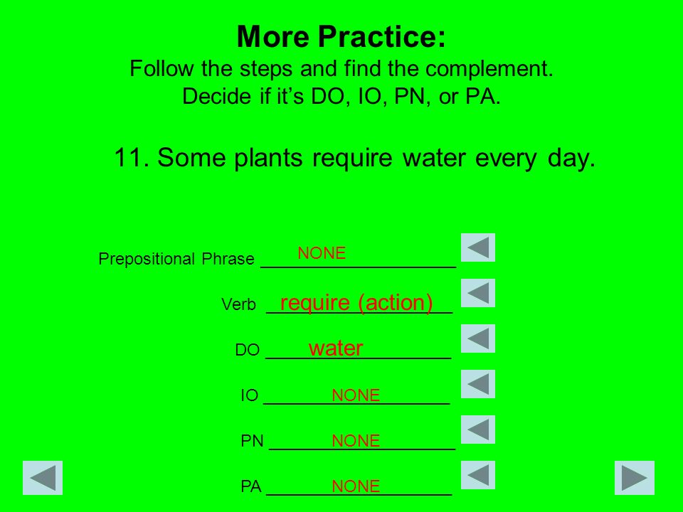 More Practice: Follow the steps and find the complement. Decide if its DO, IO, PN, or PA. 11. Some plants require water every day. Prepositional Phras