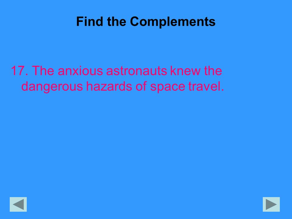 Find the Complements 17. The anxious astronauts knew the dangerous hazards of space travel.