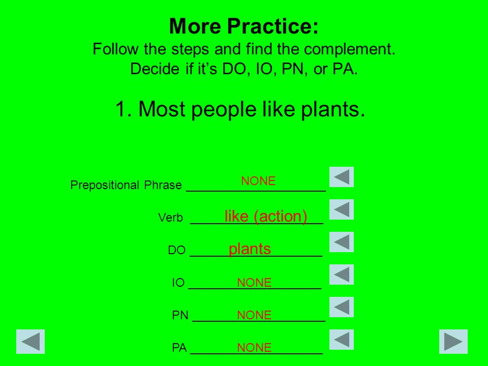 More Practice: Follow the steps and find the complement. Decide if its DO, IO, PN, or PA. 1. Most people like plants. Prepositional Phrase ___________