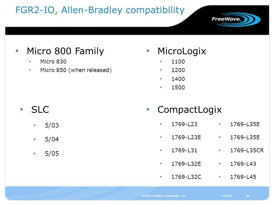 1/12/2014© 2011 FreeWave Technologies, Inc. 30 Micro 800 Family Micro 830 Micro 850 (when released) FGR2-IO, Allen-Bradley compatibility MicroLogix 11
