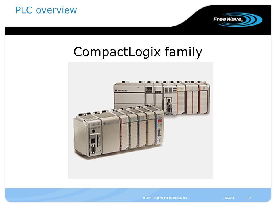 1/12/2014© 2011 FreeWave Technologies, Inc. 37 CompactLogix family PLC overview